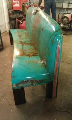 1965 Ford truck hood bench, Dad can I have the sled to make this??  :  )