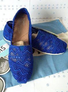 Toms Classics Crochet Royal Blue Shoes for Women