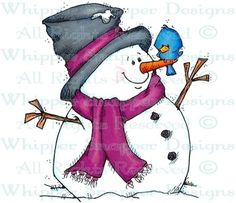 A New Winter Friend - Snowmen Images - Snowmen - Rubber Stamps - Shop .the bluebird of happiness? Snowman Images, Snowmen Pictures, Christmas Pictures, Watercolor Christmas Cards, Christmas Drawing, Christmas Paintings, Snowman Crafts, Christmas Projects, Christmas Crafts