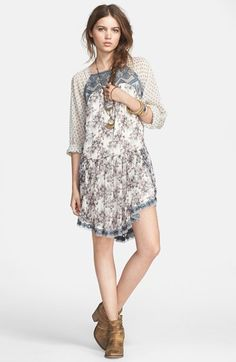 Free People 'Elsie' Lace Detail Chiffon Dress | Nordstrom