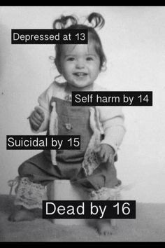 I'm going to change this. Depression by Self harm by 12 Attempted suicide by 13 and lets see what happens How I Feel, How Are You Feeling, My Demons, Depression Quotes, Angst, Stop Bullying, In My Feelings, Sad Quotes, Deep Thoughts