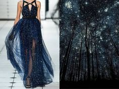 "Liliya Hudyakova - Smilarities between Haute Couture and Landscape - Jason Wu S/S 2013 & Starry Night ""Silhouettes"" by Harry Finde Elie Saab, Fashion Vestidos, Foto Fashion, Fashion Art, Dress Fashion, Fashion Night, Prom Dresses, Formal Dresses, Cheap Dresses"