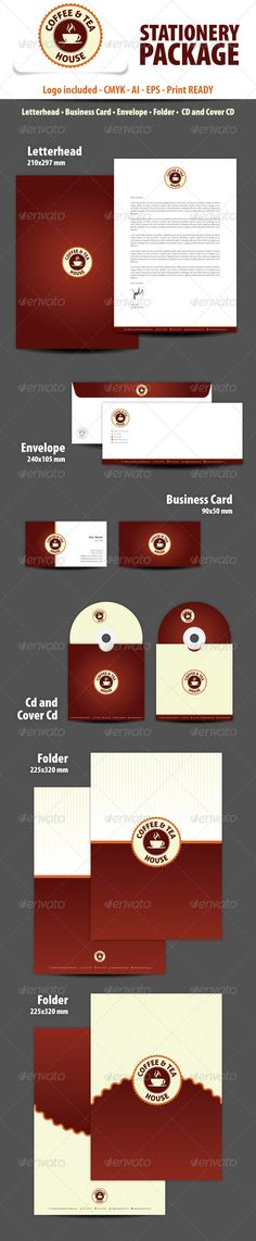Coffee and Tea House Stationery Package  #GraphicRiver