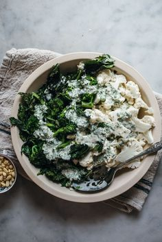 Broccoli Rabe and Crunchy Cauliflower with a Lemon Tahini Dressing. Thank you Broccoli Rabe for sponsoring this post! Broccoli Rabe and Crunchy Cauliflower with a Lemon Tahini Dressing — O&O Eats A Beautiful Plate Vegetarian Side Dishes, Vegetarian Recipes, Healthy Recipes, Raw Cauliflower, Lemon Tahini Dressing, Brocolli, Large Salad Bowl, Salad Recipes, Smoothie Recipes