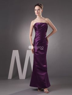 Pretty Grape Satin Strapless Floor Length Bridesmaid Dress. Classic gowns with clean lines are very popular in wedding parties. If youre looking for a chic option for your bridesmaid dresses, this one is a great choice. It has a strapless bodice with a sweetheart neckline and c.. . See More Bridesmaid Dresses at http://www.ourgreatshop.com/Bridesmaid-Dresses-C926.aspx