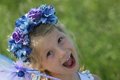 Blue & Purple flower HAIRBAND Fairy by TheLittleLilacFaerie