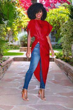 Summer Women Fold Waist High Slit Solid Color Short Sleeve Irregular Dress New Classy Outfits, Trendy Outfits, Cute Outfits, Fashion Outfits, Black Women Fashion, Look Fashion, Womens Fashion, African Fashion Dresses, African Dress