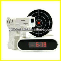 Laser Target Desk Shooting Gun Alarm Clock Cool Gadget Toy Novelty with Red LED Backlight $9.23~$11