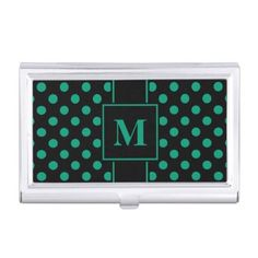 #monogrammed - #Monogram Emerald Green Polka Dot on Black Business Card Holder