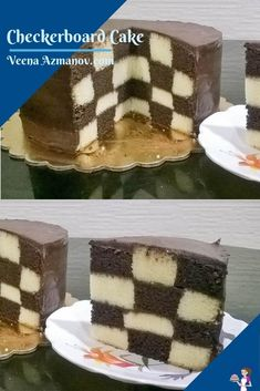 A checkerboard cake can be a fun and surprisingly easy cake to make. Four layers of vanilla and chocolate cake frosted with chocolate ganache create this wonderful checkerboard effect. #checkerboardcake #checkerboard #cakerecipe #cakes #easycakerecipe #vanillachocolatecake #vanillacake #chocolatecake