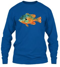 Low-Poly Longear Sunfish | tees| dads| life stile| outdoors| long sleeve |  fishing | The longear sunfish: the colorful sunfish that would make a beautiful sunset envious. A delight to catch on light tackle and a favorite of anglers of all ages. Represented in a low-poly minimalistic graphic style, this t-shirt is a must have for the connoisseur angler and part of our low-poly art fish collection.