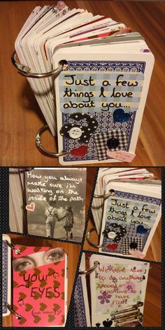I made this cute 52 Reasons I Love You Book (made with playing cards) for Aaron last year, he said it was the best gift he's ever got.    - DIY project for the one you love. The perfect handmade, personalised, unique Anniversary or Valentines day gifts for him ♥