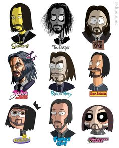 John Wick in Different Anime Shows by Dino Tomic Mike Tyson, Bob Ross, Keanu Reeves, Dwayne Johnson, Caricatures, Caricature Art, Spiderman, Simpsons, Fanart