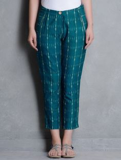 Buy Teal Ikat Cotton Pleated Slim Pants by Indian August Apparel & Skirts Sandhi Tunics More Online at Jaypore.com