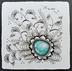 PerlE # 3 Tangles: Gemstone, Henna Drum, Crescent Moon Variation