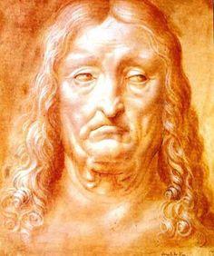 Head of an old man. Red Chalk. Leonardo