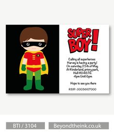 Personalised Robin Batman Invitations. Printed on Professional 300 GSM smooth card with free envelopes & delivery as standard. www.beyondtheink.co.uk