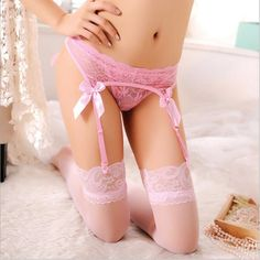 Sexy Wedding Garter Bow Fishnet Garters For Sexy Women Lace Garter Belt Erotic Lingerie Accessories Black White Pink Red