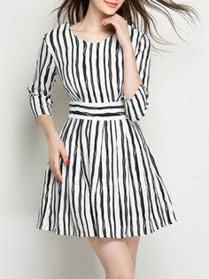 Color Block Stripes Delightful Skater Dress #ClothingOnline #PlusSizeWomensClothing #CheapClothing #FashionClothing #womenswear #sexydress #womensdress #womenfashioncasual #womensfashionforwork  #fashion #womensfashionwinter