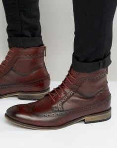 ASOS Brogue Boot In Burgundy Leather Size 11