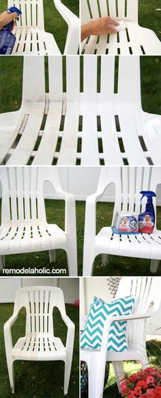 Cleaning outdoor vinyl chairs to look like new! #sponsored