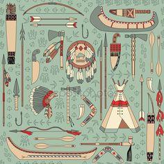 Yükle - Kızılderili öznitelikleri ile Seamless Modeli — Stok İllüstrasyon #22934380