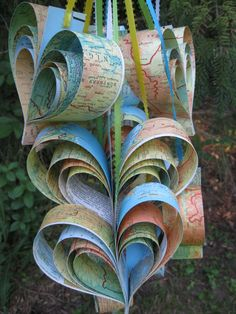 10 Vintage Map Hearts, In Rainbow Colors.  Wedding, Shower, Birthday, Decoration. Any Color Or Book Available. Custom Orders Welcome.. $40.00, via Etsy.