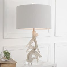 Frosted Antler Table Lamp This Intriguing Rectangular Pagoda Like Lantern  Features Sleek Upscale Transitional Style.