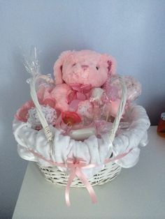 Beautiful home made hamper, great gift for baby shorts, expectant mums.