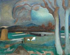 Mattheus Johannes Marie 'Matthieu' Wiegman (Zwolle 1886-1971 Bergen (N.H.)) Landschap met geitjes