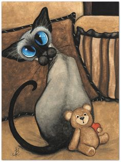 Siamese Cat Teddy Bear Heart Valentine ArT 85 x by AmyLynBihrle