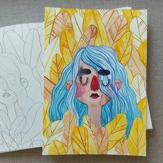 Fallen leaves 😋 . . . . . . . #lowcostunicorns #illustration #watercolours #watercoloursillustration #fallenleaves #autumnmood #autumnillustration #october #yellowgold #magicautumn #romanianillustrator #illustratorsofinstagram