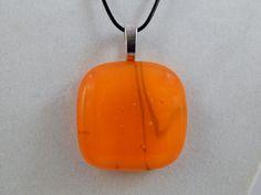 Orange Fused Glass Pendant by ZacInTheBoxCreations on Etsy