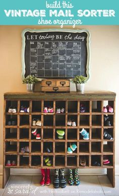 Love the shoe cubby!Mudroom salvage: A chalkboard calendar and mail sorter-turned-shoe cubby Chalkboard Calendar, Diy Chalkboard, Diy Tableau Noir, Shoe Cubby, Shoe Bin, Shoe Shelves, Entryway Organization, Organization Ideas, Entryway Ideas