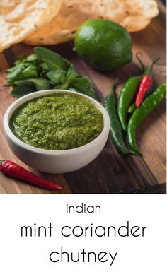 Mint coriander chutney adds big Indian flavours to curries but is great on it's own as a dip as well. Indian Food Recipes, Asian Recipes, New Recipes, Dinner Recipes, Cooking Recipes, Favorite Recipes, Healthy Recipes, Ethnic Recipes, Indian Chutney Recipes