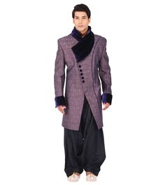 & Self Woven & Long from Study By Janak at Wedding Sherwani, Indian Ethnic, Brown And Grey, Study, Velvet, Silk, Coat, Jackets, Fashion