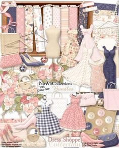 A stylish digital scrapbooking kit and card making kit in a shabby chic style. Dresses, shoes, purses and more...go shopping without the guilt!ha,ha FQB - Dress Shoppe Collection by Nitwit Collections™ #digitalscrapbooking #cardmaking