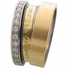 Individuelle Trauringe zur Hochzeit mit Brillianten, aus Edelstahl oder Gold - von Claudia Schüller Design