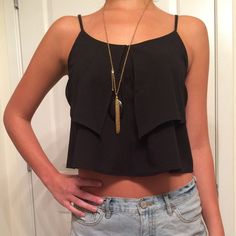 Black Urban Outfitters Crop Top A fun crop top for pairing with high waisted jeans or a skirt! Urban Outfitters Tops Crop Tops