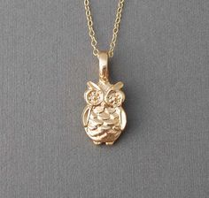 Gold owl necklace