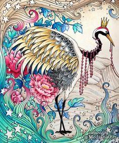 Журавлики немного экспериментировала с рисованием цветов и листьев на заднем…  Davlin Publishing #adultcoloring