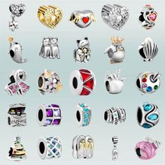 Pugster Silver Heart Spacer Crystal European Charms Bead Lot Fit Charm Bracelet