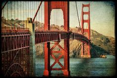 Golden Gate Bridge 24x36 : san francisco photography bay area northern california photo historic red orange teal home decor