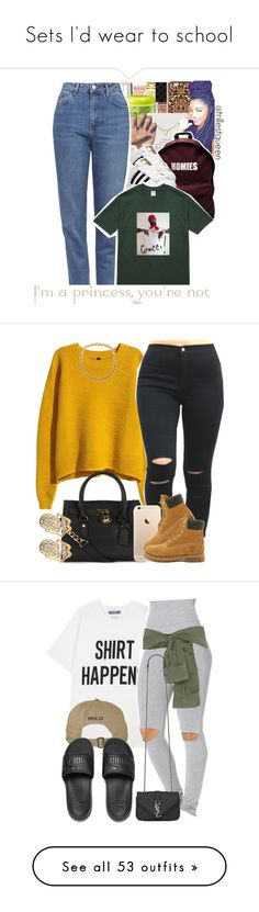 """Sets I'd wear to school"" by leah143love ❤ liked on Polyvore featuring Victoria's Secret, Movado, Gucci, Felony Case, Dogeared, ASAP, adidas, Topshop, H&M and Michael Kors"