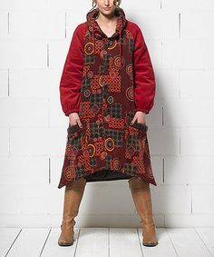 Look what I found on #zulily! Wine & Orange Sidetail Button-Up Coat - Women by Coline USA #zulilyfinds