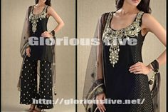 Black dress at special events look stunning and amazing.Material: Purest Quality Chiffon Color: Black Work: Embroidery motifs on the front and delicate work on neck with kundan , net dupatta with hanging tussels looks stylish & beautiful