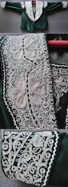 The front of an embroidered vest (called 'sarka') from the central and Seyitgazi districts of the Eskişehir province. Part of the local traditional bridal/festive costume. Made ca. 1995. A remainder of the so-called 'Bahriye'-style (= 'Navy'), which was popular in Istanbul in the early 20th century. Close-ups of the breast-part and a cuff. Silver thread embroidery on velvet; 'kordon tutturma' technique/applied cord. (Inv.nr. cep028 - Kavak Folklor Ekibi&Costume Collection-Antwerpen/Belgium).