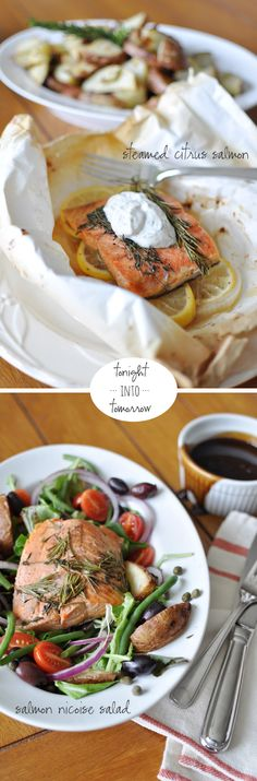 Two-day dinner (steamed citrus salmon with potatoes on day one, salmon nicoise salad on day two