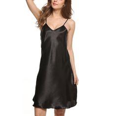 2016 New Fashion Women's Nightshirts Satin Chemises Comfortable Slip Sleepwear
