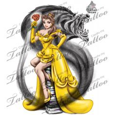 Tattoo Beauty and the Beast Pin up
